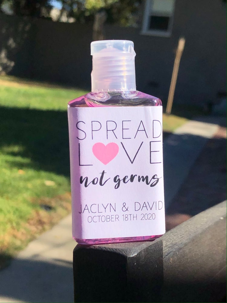 Image of Spread Love Note Germs - Wedding Hand Sanitizers
