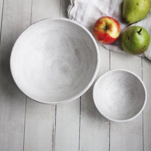 Image of Pair of White Speckled Bowls in Modern Matte Glaze, Set of Two Stacking Bowls, Made in USA