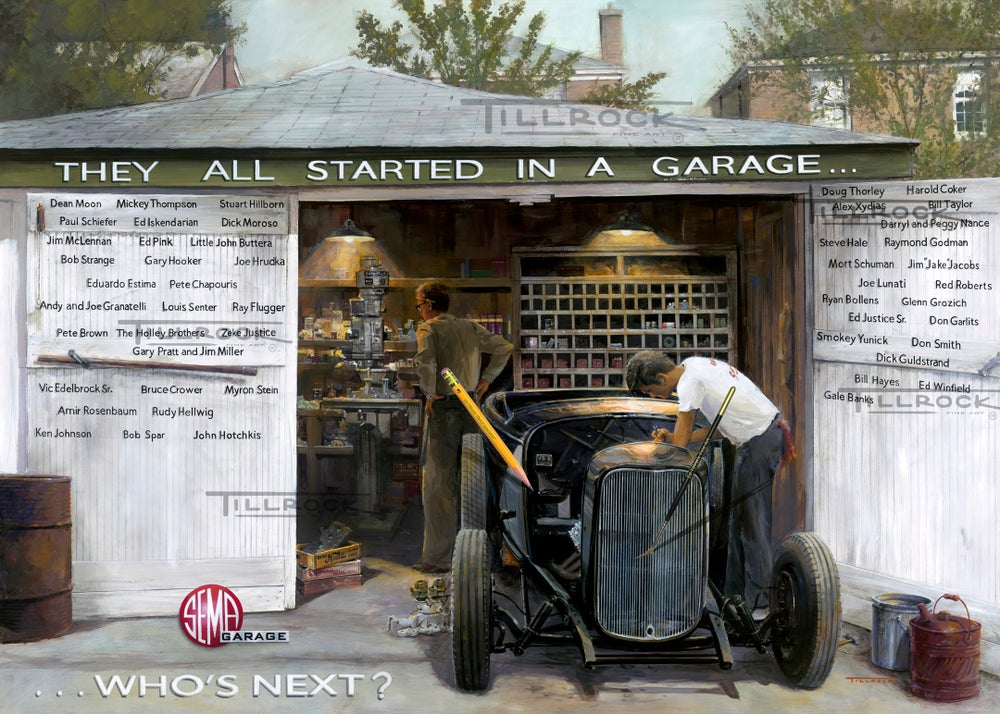 "Image of The SEMA Garage ""They All Started In A Garage"" 13""x19"" Print"