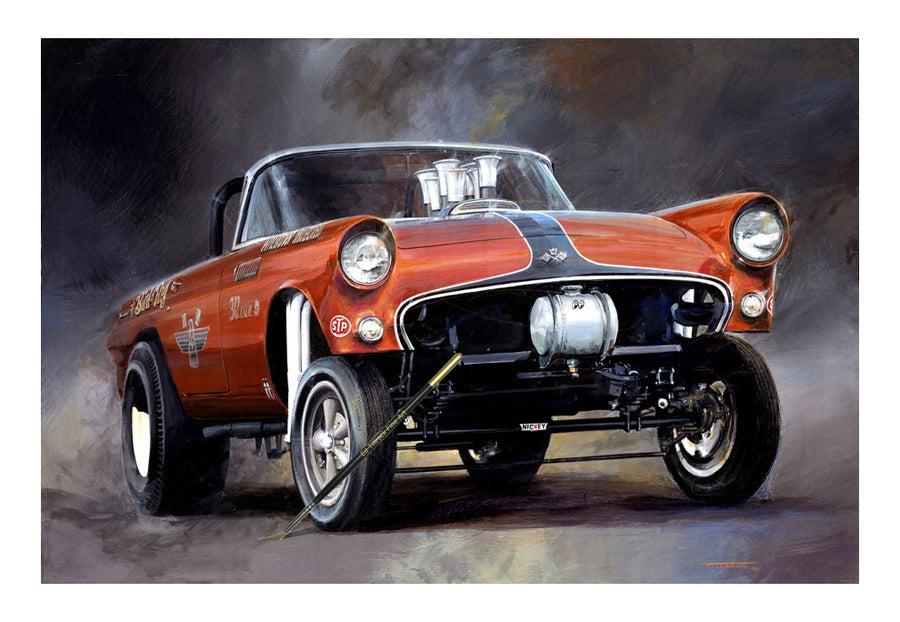 "Image of ""Bird of Prey"" 55 TBird Gasser 13""x17"""