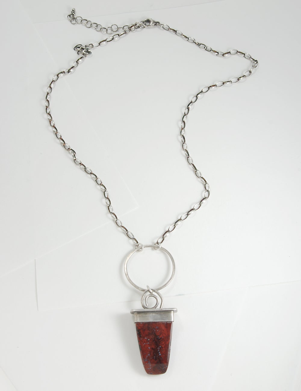 Image of Brenda Arizona Red Jasper/Agate, Sterling Silver Chain, Artisan Made, One of a Kind