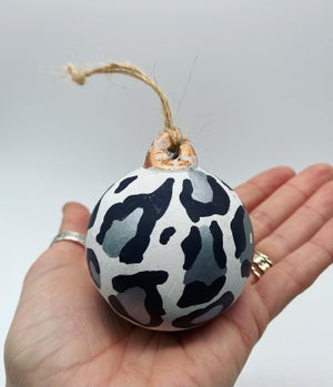 Image of Ceramic Leopard Print Christmas Baubles - Gold, Silver, Pink Blush, Green