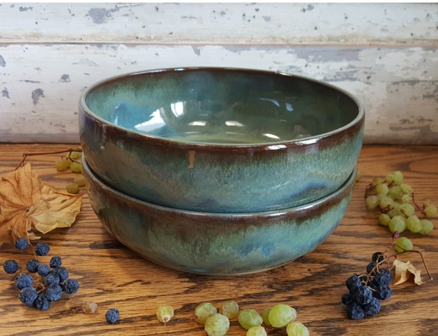 Image of Set of 2 One Dish Meal Bowls: Avalanche Gorge (Green)