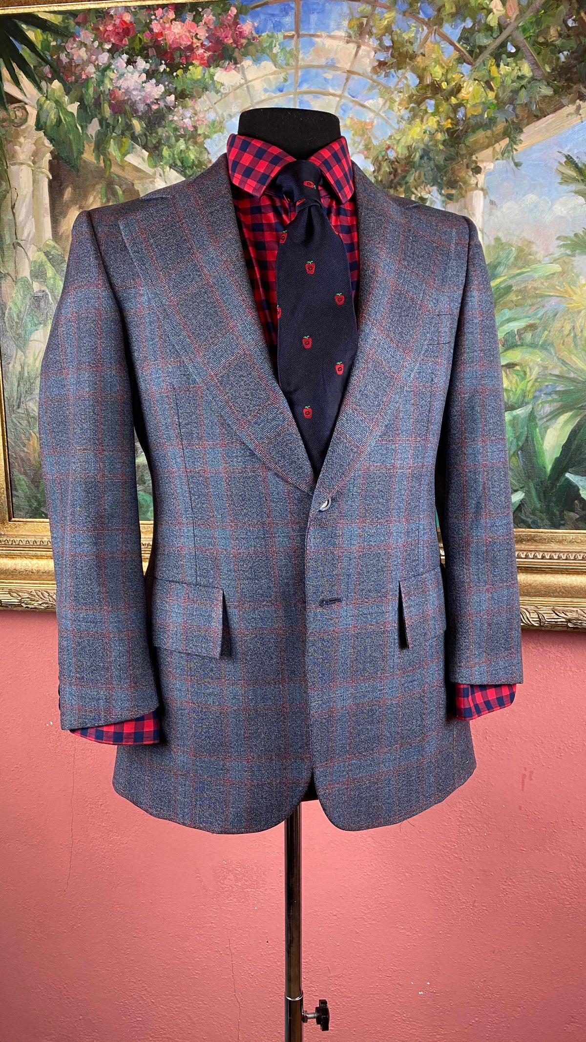 Image of VTG Blue Plaid Suit