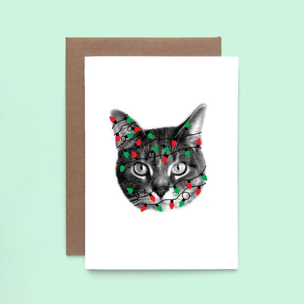 Image of gee whiskers series: holiday lights greeting card - christmas cat -