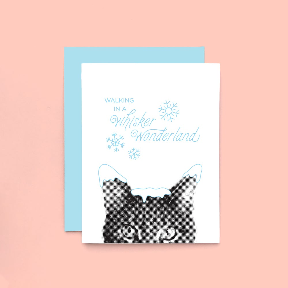 Image of gee whiskers series: santa claws letterpress greeting card - holiday cat - snow kitty