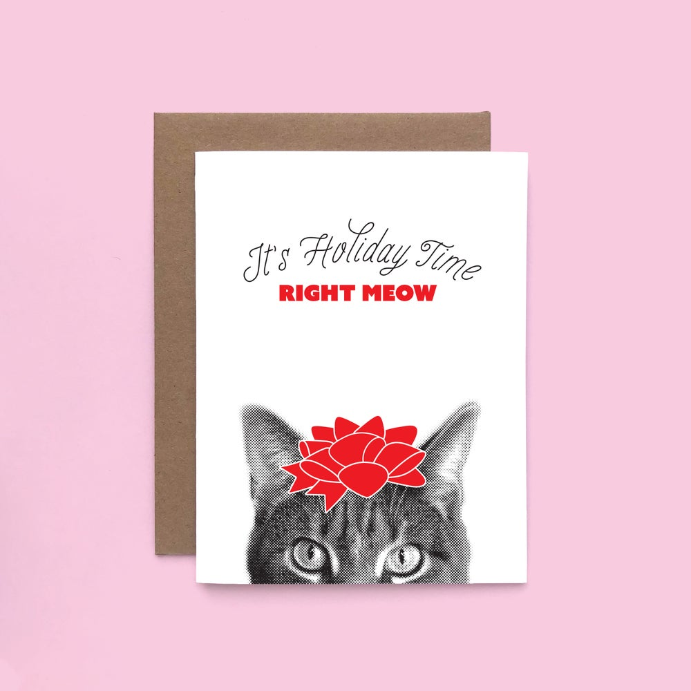 Image of gee whiskers series: it's holiday time letterpress greeting card - holiday cat - cat puns