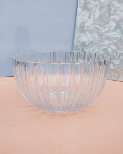 Image of Fluted Clear Glass Salad Bowl