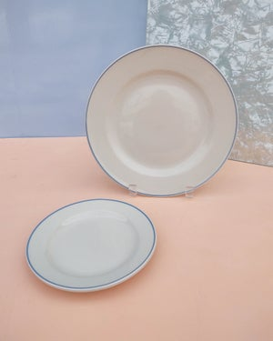 Set (4) Ceramic Plates with Blue Border by Gibson