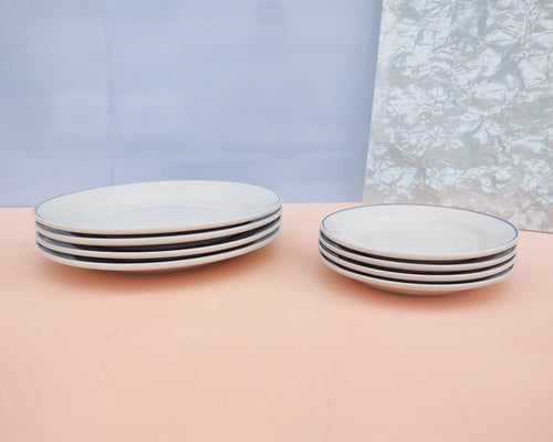 Image of Set (4) Ceramic Plates with Blue Border by Gibson