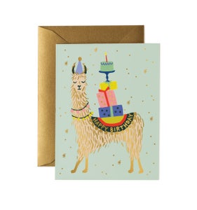 Image of CARTE DOUBLE HAPPY BIRTHDAY ANIMAUX (CINQ MODÈLES), RIFLE PAPER CO.