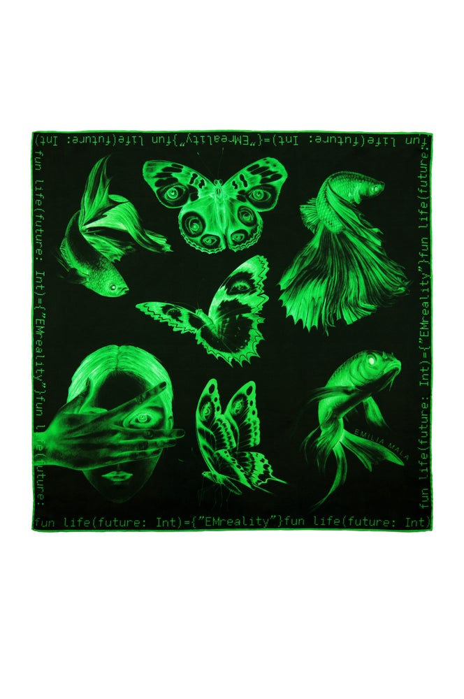 "Image of ""Method Not Allowed""  / Green Silk Scarf"