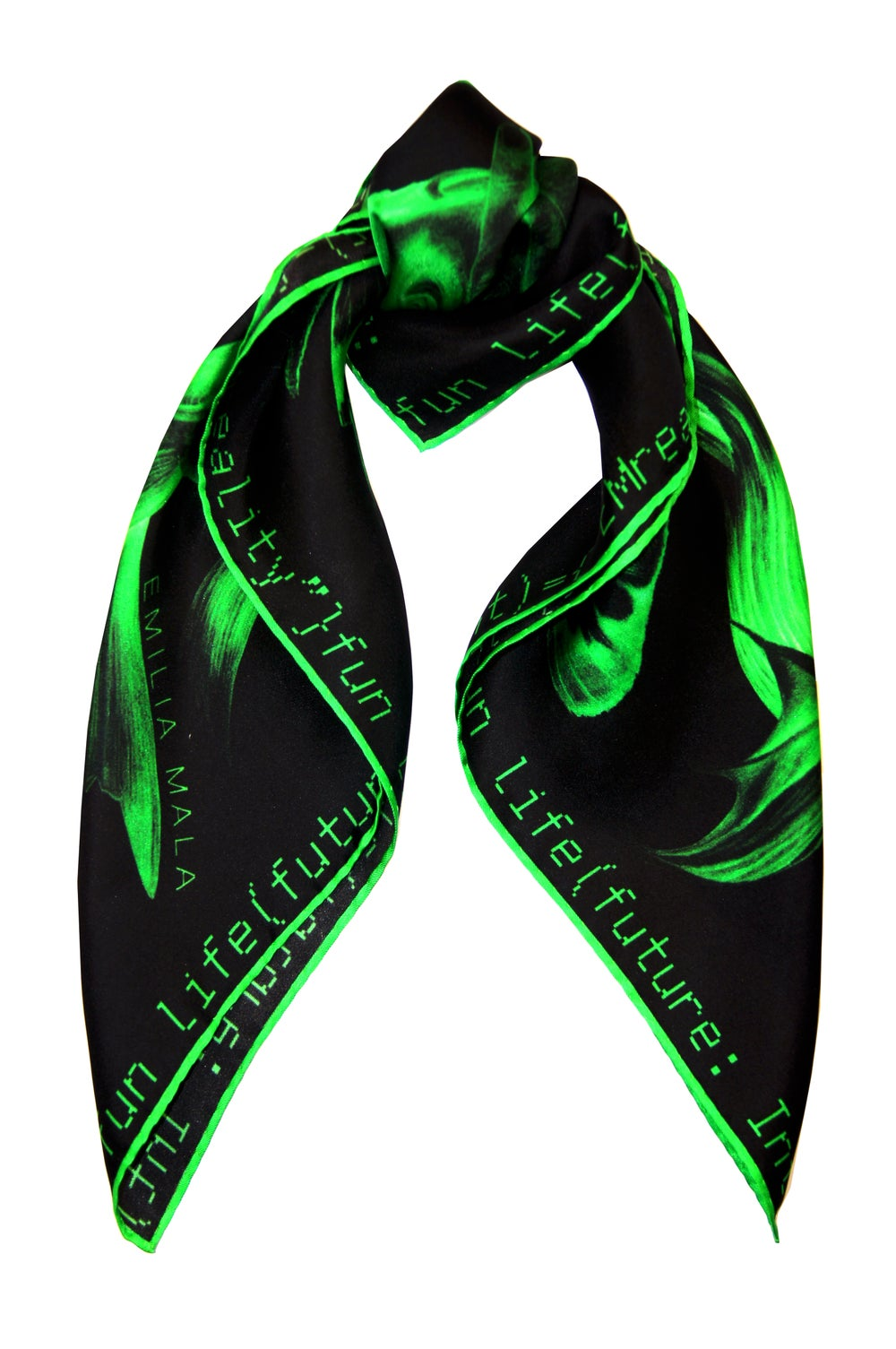 "Image of ""Method Not Allowed / Green"" Silk Scarf"