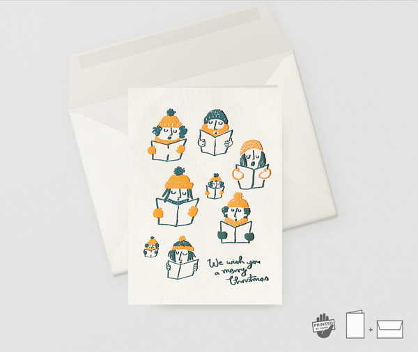 Image of Letterpress Christmas Greeting Card Carol Singers - NEON