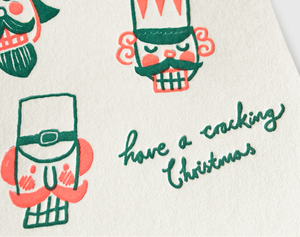 Image of Letterpress Christmas Greeting Card Nut Crackers - NEON