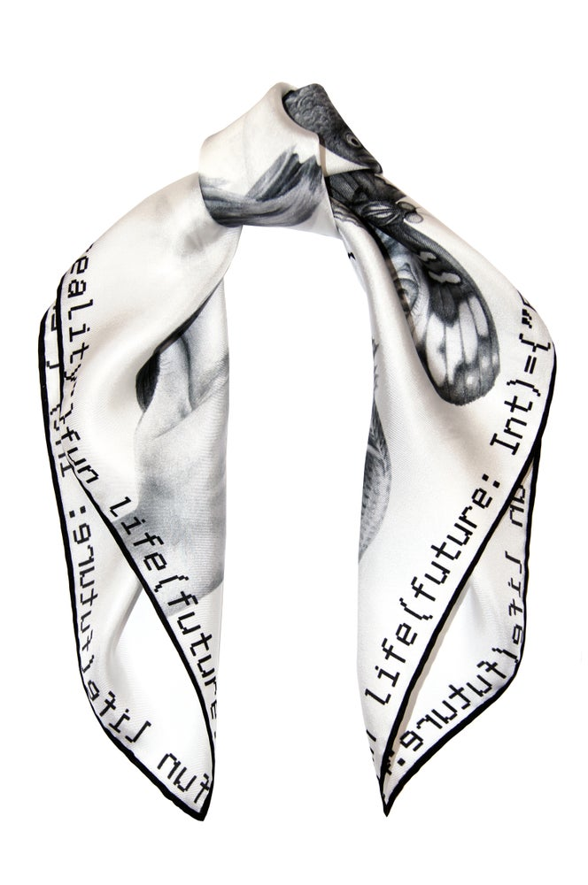 """Image of """"Method not Allowed / White"""" Silk Scarf"""