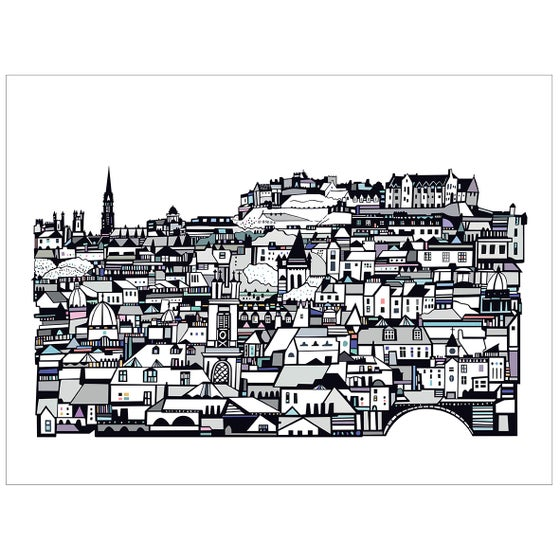 Image of Edinburgh from Stockbridge Digital Print