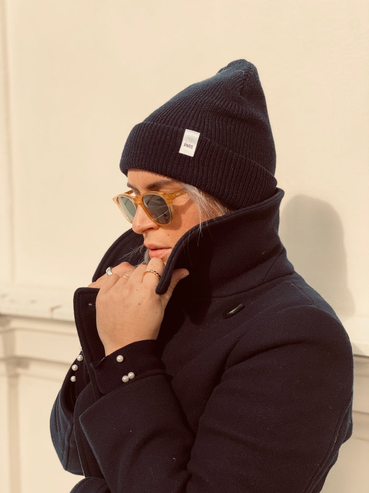 Image of Navy Label Beanie