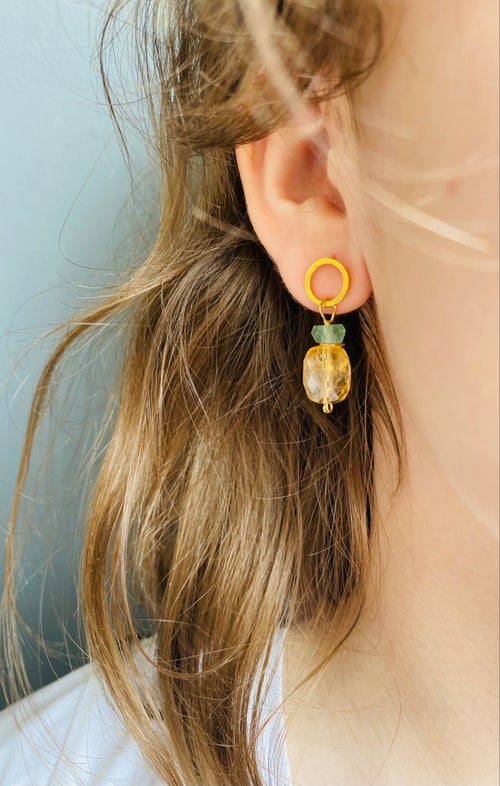 Image of Indian summer stud earrings- Citrine/green Beryl