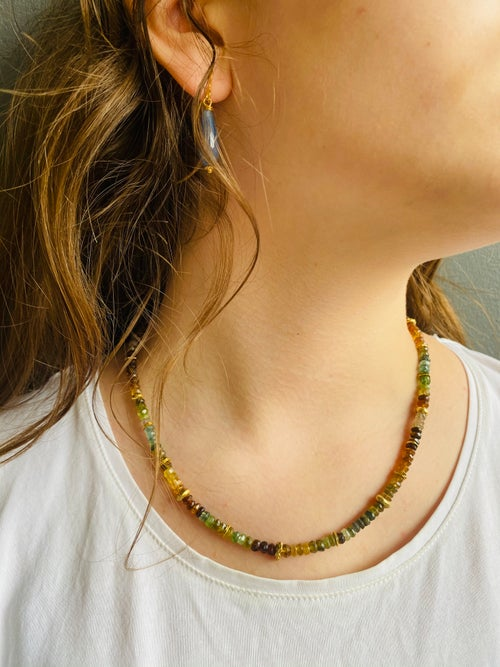 Image of Indian summer beaded necklace - Tourmaline