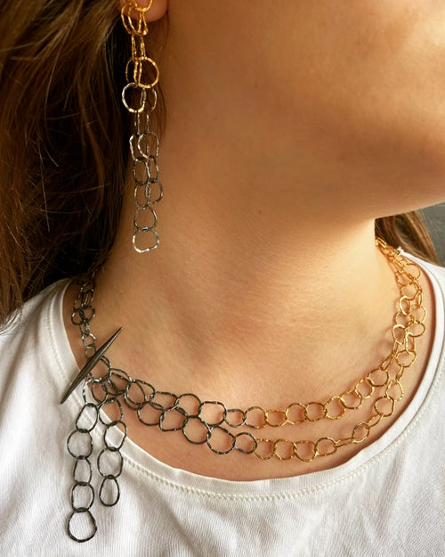 Image of Afiok double necklace combination oxidised silver with 24ct yellow gold vermeil