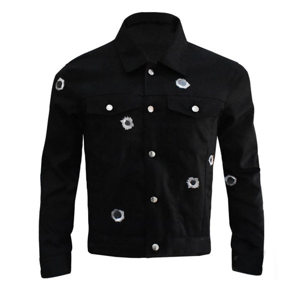 Image of HOMESICK x SSG Black Bullet Hole Jacket