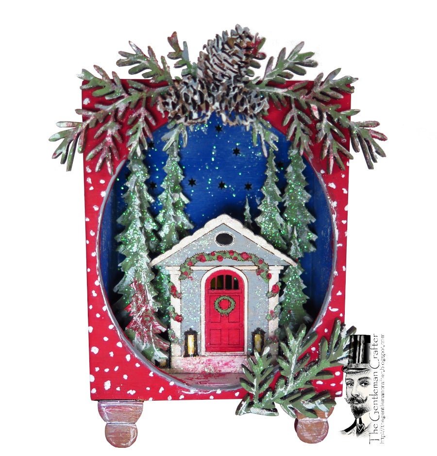 Image of Lighted Christmas Cabin in the Woods- Kit