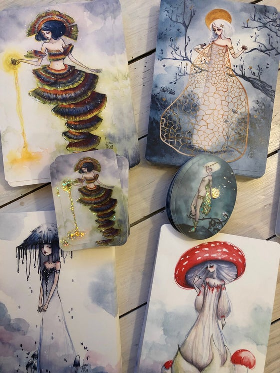 Image of Set of nine mushroom faes & 3 stickers