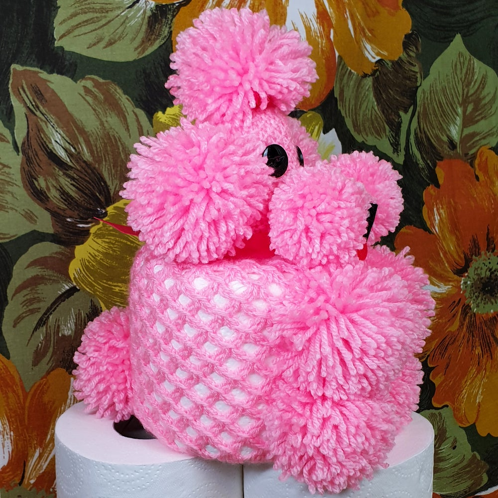 Perky Pink Crochet Poodle Toilet Roll Cover