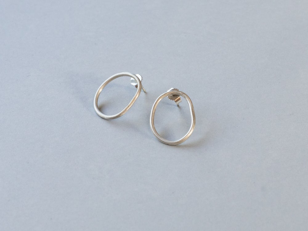 Image of Organic Shaped Silver Earrings (Roundish)