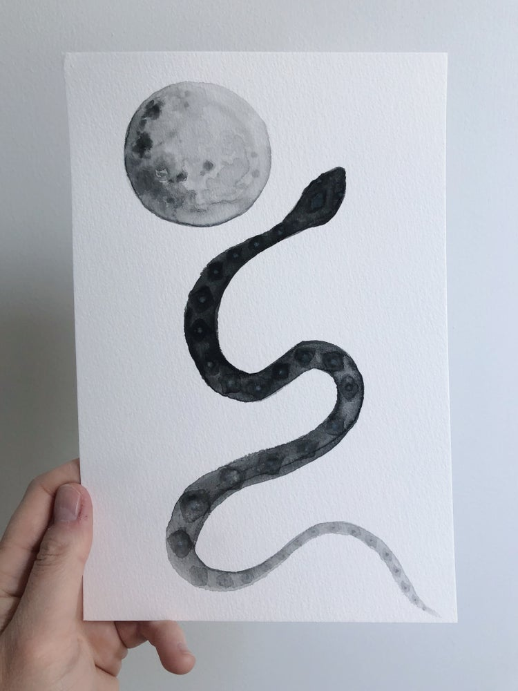 Image of Snake & Moon - original watercolor painting