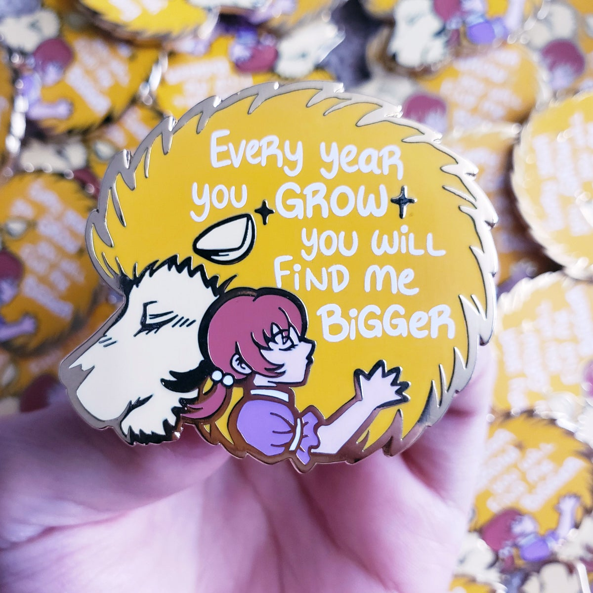 Girl and Lion Pin