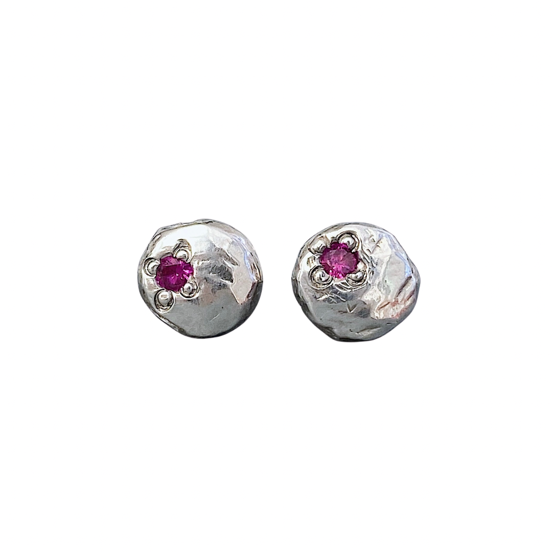 Image of recycled & textured silver stud earrings