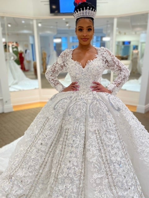 Image of Sarah Bellini Long Sleeves Ball Gown Wedding Dress