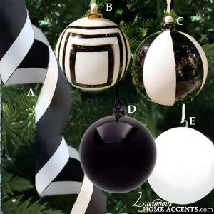 Image of Black and White Christmas Tree Decor
