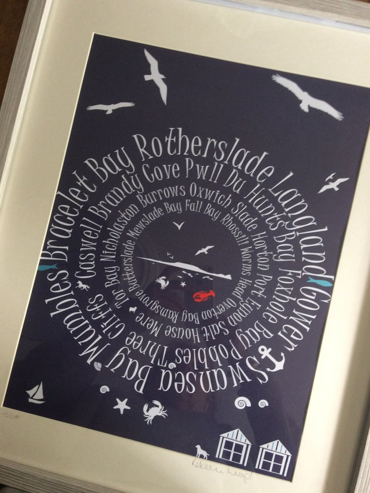 Image of Love Gower A3 print Navy