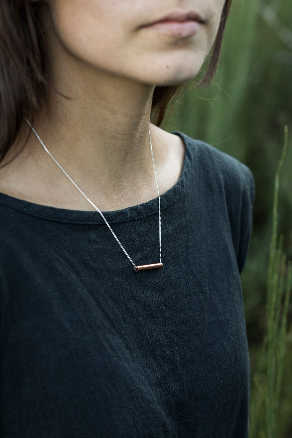 Image of Copper Tube + Silver Chain Necklace