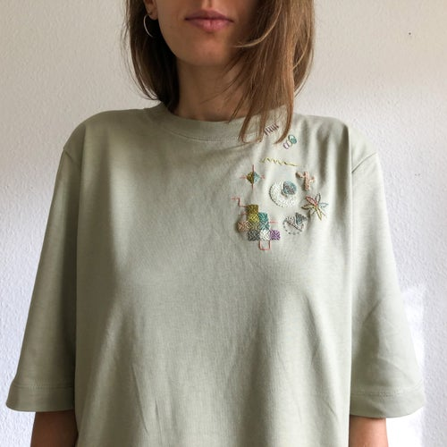 Image of Intuitive hand embroidery on organic cotton t-shirt, One of a kind, size Medium