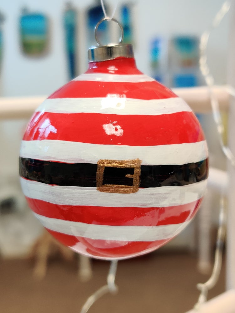 Image of Red Striped Bauble