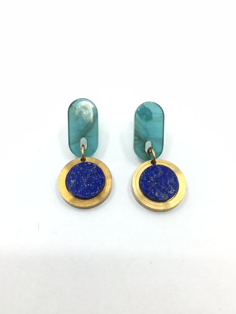 Acetate and Semi-Precious Stone Earrings by Larissa Loden