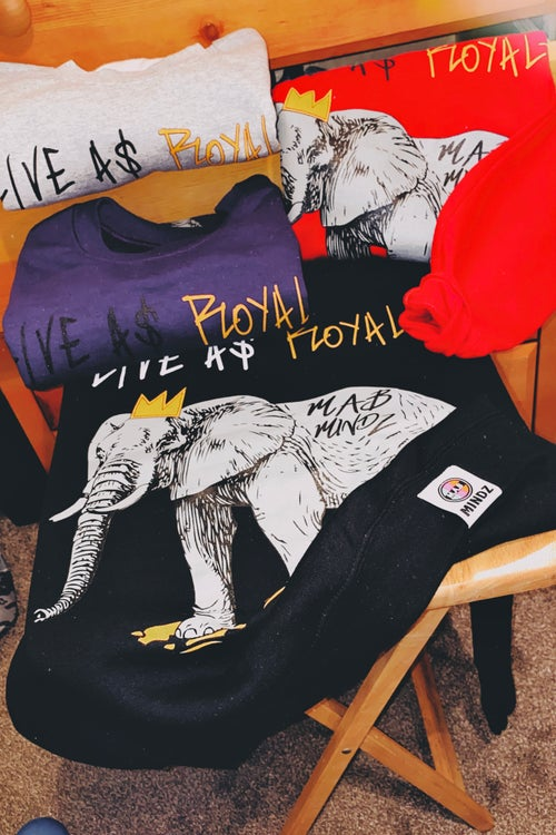 Image of LIVE A$ ROYALTY GREY ELEPHANT Crew Neck Sweater