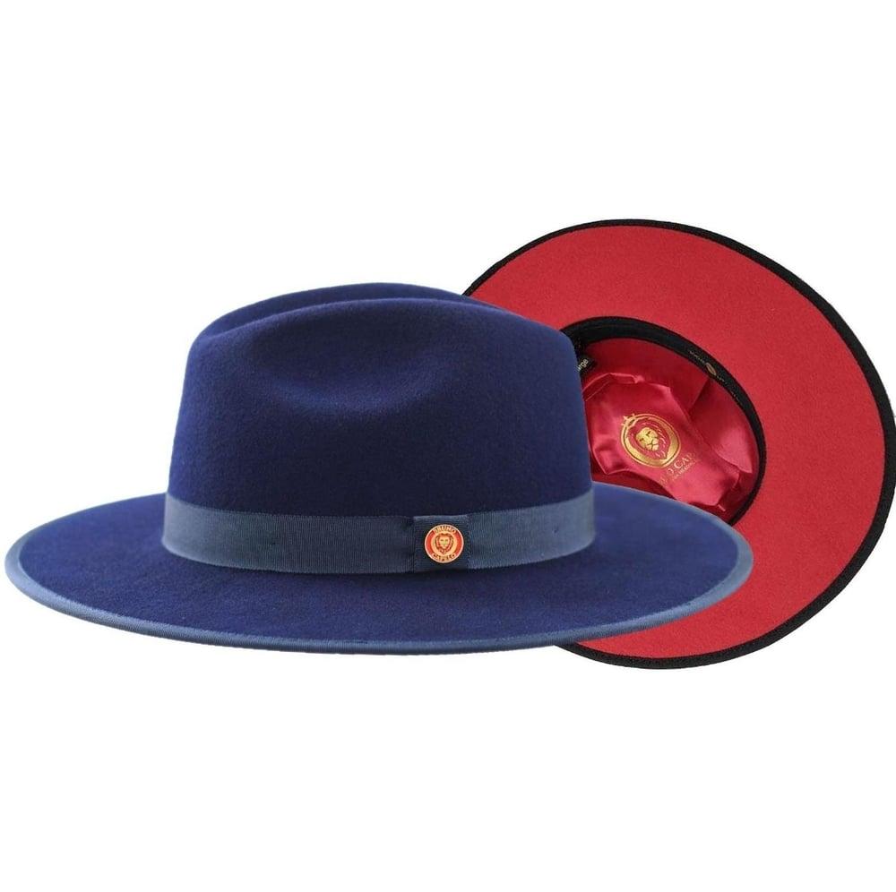 Image of Bruno Capelo Navy / Red Bottom Australian Wool Fedora Hat PR-305