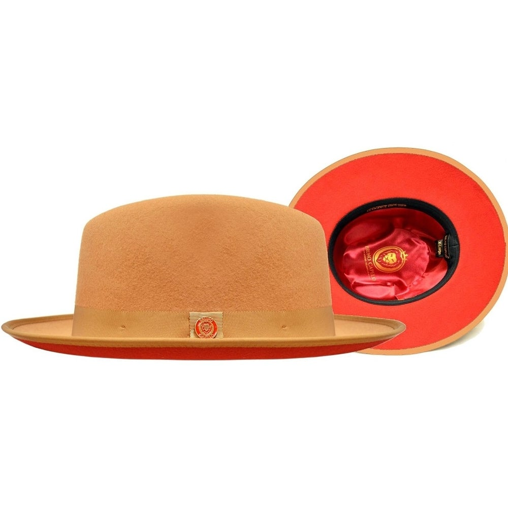 Image of  Capelo Camel / Red Bottom Australian Wool Fedora Dress Hat PR-301