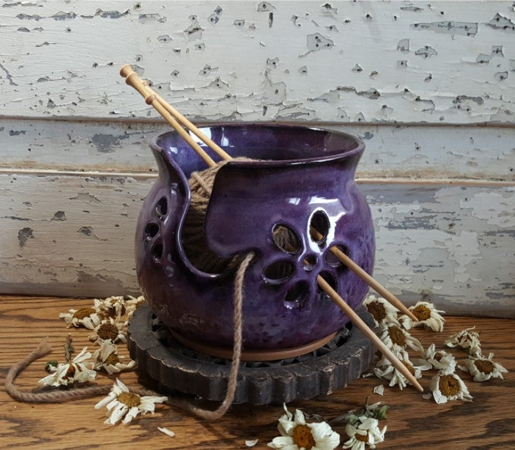 Image of Yarn Bowl for Your Wool: Textured with Daisies in Huckleberry (Purple)