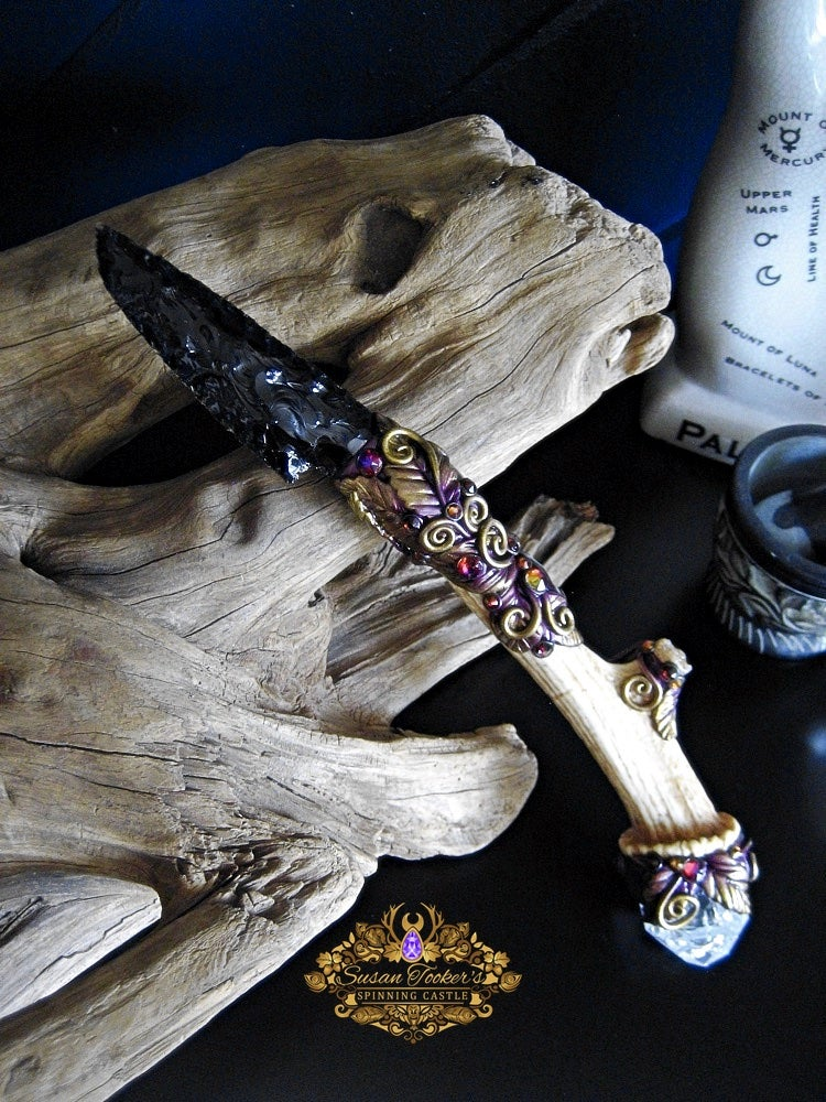 Image of WITCHES WISDOM - Ornamental Ritual Athame Obsidian Blade Eudialyte Quartz Crystal Witchcraft Dagger