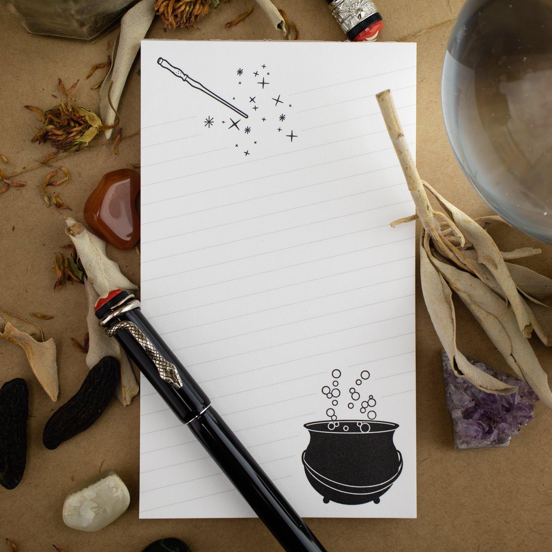 """No Toil, No Trouble"" Cauldron & Wand Notepad"