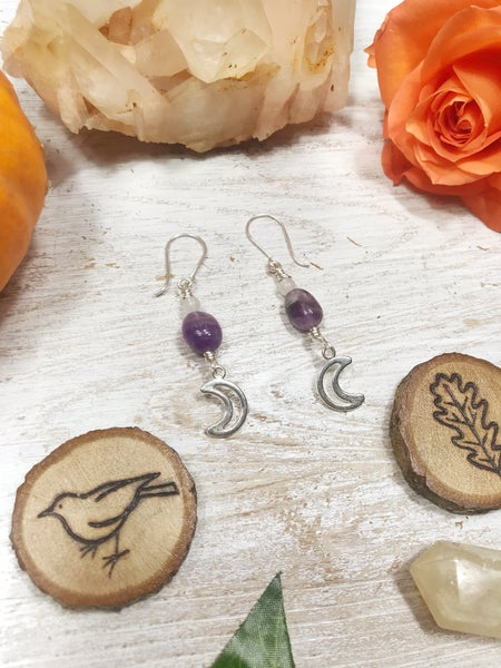 Image of Amethyst Moon earrings