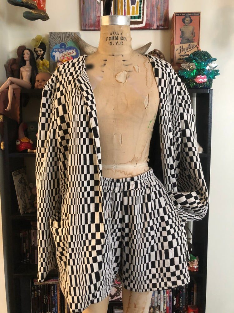 Image of Op art shorts suit