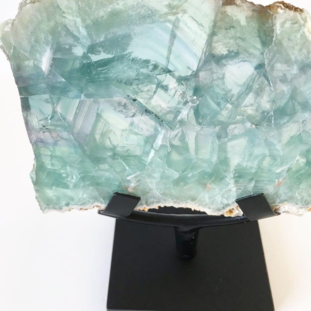 Image of Tricolor Fluorite no.145 + Matte Black Stand