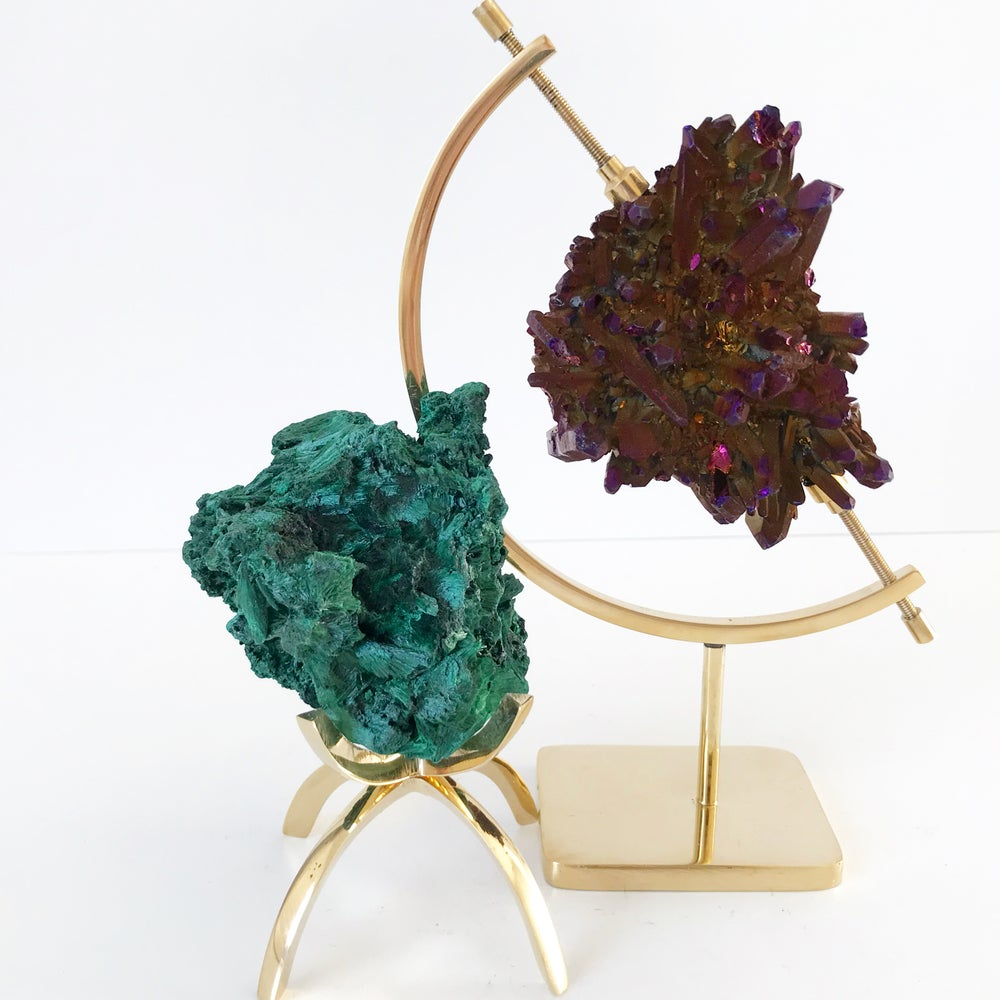 Image of Fibrous Malachite no.85 + Brass Claw Stand